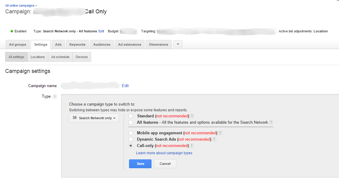 call-only ad settings