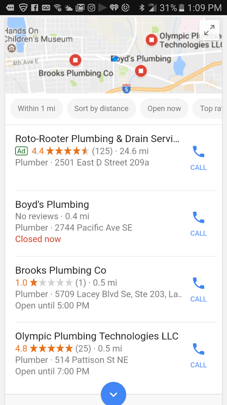 plumber mobile map result